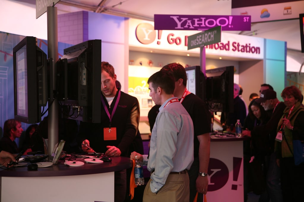"An innovative ""traffic sign"" showing how Yahoo Street intersects with oneSearch. Yahoo at CES 2008 by Yahoo, via Flickr."