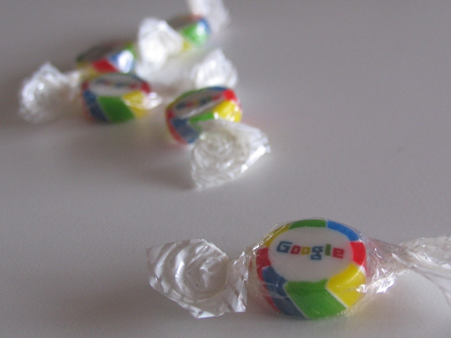 Google candy given out at CeBIT Hannover. Photo by Tamer Nakışçı via tamernakisci.com