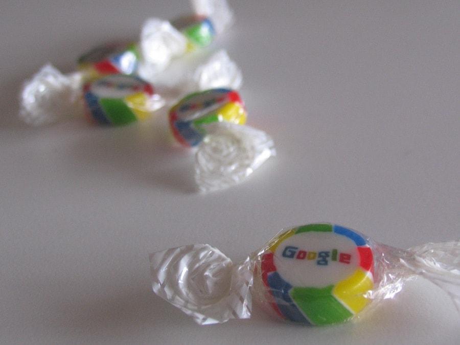 Google candy given out at CeBIT Hannover. Photo by Tamer Nakışçı via tamernakisci.com