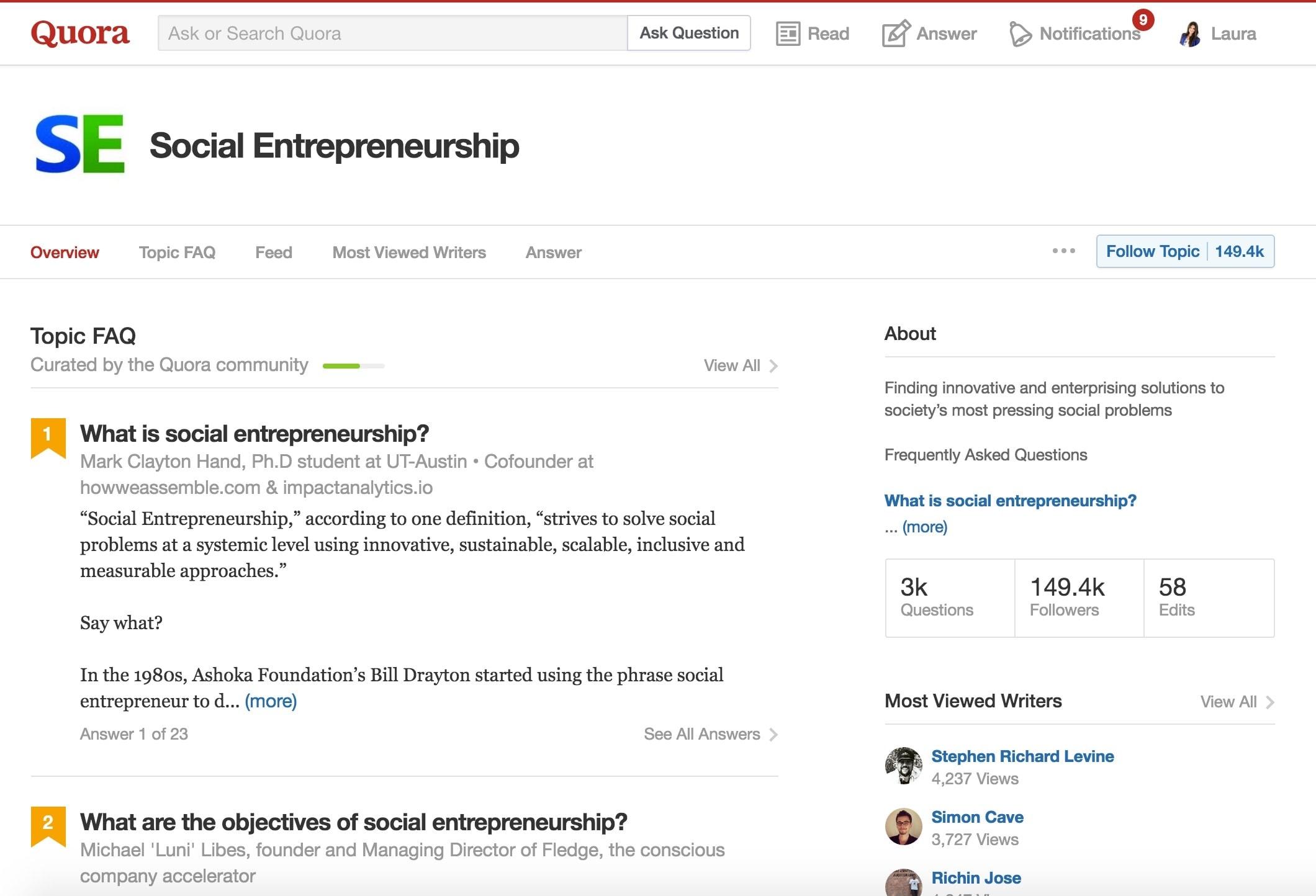 Quora's Social Entrepreneurship Page