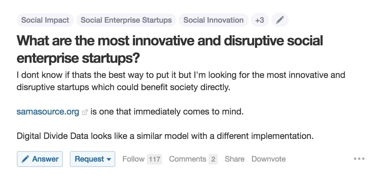 Quora Social Entrepreneurship