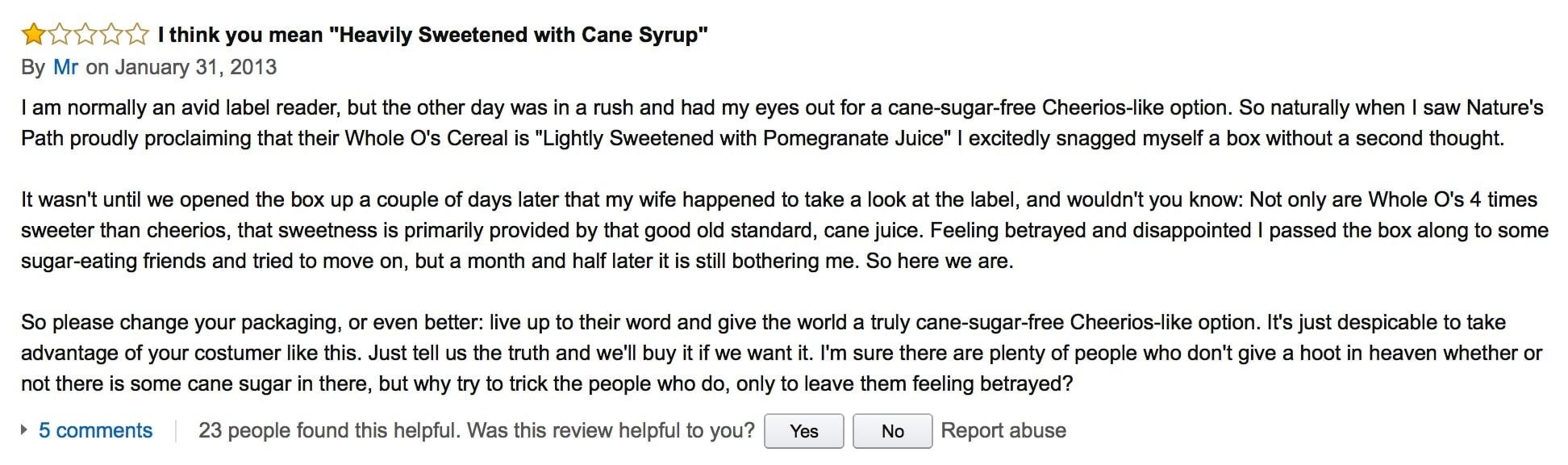 Cereal Customer Reviews